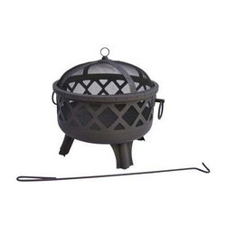 "Landmann - Garden Lights Sarasota Fire Pit Steel - Garden Lights.  This Sarasota Fire Pit provides a 360 degree view of the fire.  It features stylish diamond cutouts which create an incredible ambiance at night and a large 23.5"" fire bowl.  Its sturdy steel construction is designed for easy assembly and its four decorative legs provide sturdy support.  Decorative ring handles make for easy transport.  Comes with decorative spark screen and poker.  Measures 28.5""x25""x24.25"".  Weighs 22 lbs.  Burn Surface Area 415 sq. in."