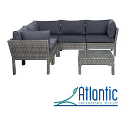 Atlantic - Majorca 6-piece Grey Sectional - This 6-piece wicker sectional combines quality, style and comfort. The modern set makes an immediate impact on the patio with a contemporary style, combined with the ability to re-arrange the individual pieces.