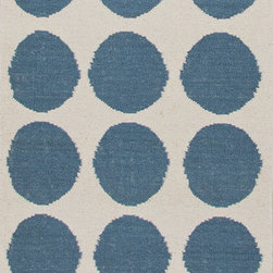 Jaipur Rugs - Flat Weave Geometric Pattern Blue Wool Handmade Rug - MR08, 2.6x8 - An array of simple flat weave designs in 100% wool - from simple modern geometrics to stripes and Ikats. Colors look modern and fresh and very contemporary.