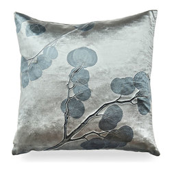 Indigo Eucalyptus on Cinder Pillow - Shimmering indigo patterns of Eucalyptus creep elegantly across the entirety of this stunning accent pillow. Place it in a window seat with a few of its kind and bring the beauty of the outdoors inside in a most exquisite way. The Indigo Eucalyptus on Cinder Pillow feels as luxurious as it looks and adds a dimension of texture to any decorated space. Each Aviva Stanoff piece is specially crafted for you upon ordering and takes 8-10 weeks but is absolutely worth the wait.