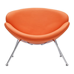 "East End Imports - Pierre Paulin Slice Style Mid-century Lounge Chair Orange - Sprawling horizons roll gently outward from this deep-seated slice style lounge chair. Unwrap the graceful duet of soft-cushioned molded ""shells"" positioned artistically on tube chrome legs. Achieve surprising results as you make your escape from traditional seating toward radical positioning."
