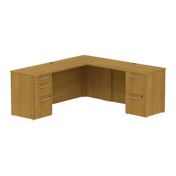 "BBF - Bush 300 Series 72"" L-Shape 2-Pedestal Desk Set in Modern Cherry - Bush - Commercial Grade Office - 300S036MC - Functional beauty plus sophisticated styling comes standard with the Bush Modern Cherry 300 Series 72""W x 22""D Small Space Desk (B/B/F) with 48""W Return. Desk's narrow profile offers extra workspace yet fits in the tightest places. The 48"" Return lets you spread out comfortably. Five drawers, both B/B/F and F/F, hold all necessary papers, documents or office supplies. File drawers, on full-extension ball bearing slides, accommodate letter- legal or A4-size files. Wire grommets hide unsightly cords and cables, keeping desk surfaces clutter-free. Choose from multiple finish options to fashion a complete office suite. Total configuration flexibility lets you outfit any-size office space. Tough, rugged work surfaces resist scratching, stains, dings and dents, looking good for years. Includes BBF Limited Lifetime warranty."