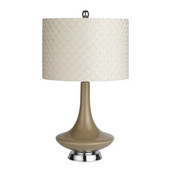 Modern Lamp, Taupe - This is a fun midcentury-styled lamp from Pier 1. From its funky shape to the embroidered geometric shade, this lamp will add a classic retro vibe to any space.