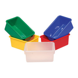 "Steffywood - Steffywood Home Plastic Tote Tray, 5""x8""x11"", Yellow - Plastic, durable tote trays measure 5""H X 8""W X 11""L and fit our 12"" deep storage cabinets. All edges are rounded and smooth. GreenGuard certified.Fits our 12""cabinets. GreenGuard certified. All edges rounded and smooth."
