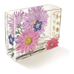 Fringe Studio - Fringe Studio Chelsea Salutations Vase - Colorful patterns and vintage images have been transferred to hand blown glass vase. The intriguing transparent effect looks different from every angle. Weighted bottoms support flowers and clippings. A rectangle vase made of transferware glass.