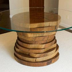 Blue Gum Eucalyptus Round Dining Table - DESCRIPTION: