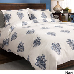 None - Roma Paisley Cotton Sateen 300 Thread Count 3-piece Duvet Cover Set - Large-scale,sophisticated paisley is widely spaced on a soft cotton sateen fabric in this duvet cover set. Each of the multi-toned monochromatic colors is featured on a white ground. The closure for both the duvet and sham is a fashionable tie.