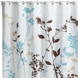 Homestead International Group Ltd. - Reflections 72-Inch x 72-Inch Fabric Shower Curtain in Floral - The foliage silhouette in shades of blue and brown of this shower curtain will add a contemporary touch to your bathroom. 52% polyester/48% cotton.