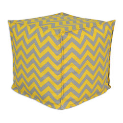 """Chooty - Chooty Zig Zag Ash-Corn Collection 17"""" Square Seamed Beads Hassock - Insert EPS Styrofoam Beads, Fabric Content 100 Cotton, Color Grey, Yellow , Ottoman 1"""
