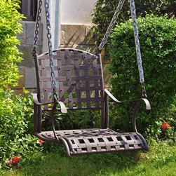 International Caravan - Single Seat Patio Swing - Includes 4 ft. chain. Swing stand not included. All weather resistant. Powder coated UV light fading protective coating. Made from premium wrought iron. Matte brown finish. Assembly required. 23 in. W x 27 in. H x 24.5 in. H (36 lbs.)