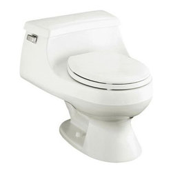 """Kohler - Kohler K-3386-0 White Rialto Rialto One-piece Round Front Toilet with - Rialto(R) One-piece Round-Front Toilet with French Curve(tm) Toilet Seat and Left-Hand Trip Lever The Rialto one-piece toilet is the industry s smallest toilet from front to back, and is perfect for small spaces. Rim Jet flushing technology uses the force of gravity to provide a thorough, quiet 1.6-gallon flush.  25-1/4"""" x 21-1/8"""" x 22-3/4"""" One-piece toilet Round-front bowl 12"""" rough-in Includes French Curve(tm) seat (K-4663) in matching finish Includes polished chrome trip lever (K-9430), less supply Angle supply is not included,  recommend K-7637"""
