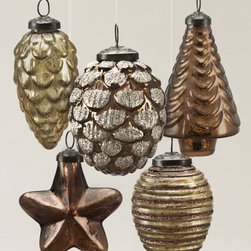 """Balsam Hill - 4"""" Mercury Glass Ornaments - Gold and Bronze - Balsam Hill® Mercury Gold and Bronze Glass Ornaments make the perfect addition to your traditional Christmas tree, and fill your home with Christmas spirit. These elegant handmade glass ornaments come in several festive shapes. This diverse collection of imported Christmas tree ornaments will light up your tree with holiday merriment for years to come."""