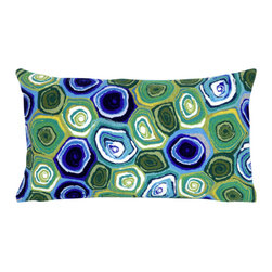 "Trans-Ocean - Murano Swirl Green Pillow - 12""X20"" - The highly detailed painterly effect is achieved by Liora Mannes patented Lamontage process which combines hand crafted art with cutting edge technology.These pillows are made with 100% polyester microfiber for an extra soft hand, and a 100% Polyester Insert.Liora Manne's pillows are suitable for Indoors or Outdoors, are antimicrobial, have a removable cover with a zipper closure for easy-care, and are handwashable."
