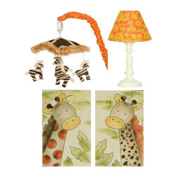 Cotton Tale Designs - Zumba Decor Kit - A quality baby bedding set is essential in making your nursery warm and inviting. All Cotton Tale patterns are made using the finest quality materials and are uniquely designed to create an elegant and sophisticated nursery. The Zumba Decor Kit includes Wall Art, Standard Lamp, and Mobile. Zumba Wall Art has brightly colored giraffes, hand painted on natural canvas. 2 pieces, each measuring 12 x 20. Can be used side by side or separate. The perfect finish to your nursery. Attached black, grosgrain ribbons for hanging This art can also be framed if desired. This wall art is hand painted and made in the USA. Dust only. The Zumba Lamp has a ivory standard base and comes with a Masi print shade. Perfect for nursery or any child's room. Maximum bulb requirements are no larger than 60 watt. Shade measures 8 x 9 x 4. Lamp base with shade is 19 inches tall. Spot clean only. Neutral lamp. Zumba Musical Mobile has 5 zebras dancing around a canopy of giraffe skin and fringed in gold trim. Arm cover in zulu orange floral. Spot clean only. Wind up music box plays Brahms Lullaby. Mobiles are not toys and should be removed from the crib when baby can sit up unassisted. Perfect mobile for a boy or a girl.