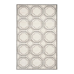 Safavieh - Bethel Indoor/Outdoor Rug, Ivory / Light Grey 4' X 6' - Construction Method: Power Loomed. Country of Origin: Turkey. Care Instructions: Easy To Clean. Just Rinse With A Garden Hose. Coordinate indoor and outdoor living spaces with fashion-right Amherst all-weather rugs by Safavieh. Power loomed of long-wearing polypropylene, beautiful cut pile Amherst rugs are made to stand up to tough outdoor conditions, but designed with the aesthetics of indoor rugs. Use these family-friendly geometric designs on patios, in kitchens, busy family rooms and other high traffic rooms.