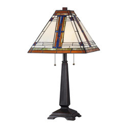 Kenroy - Kenroy KR-32286ORB Pratt Table Lamp - An Art Deco patterned shade is the centerpiece to this linear body. With classic craftsman colorations and Oil Rubbed Bronze body this lamp will surely add warmth to the quality of light. Easily switched by a pull chains, the 2 - 60 watt bulbs provide ample light for any area.