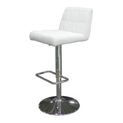 Karen Bar Stool - Modern yet comfortable, the Karen Bar Stool is a handsome seating option for your eat-at kitchen counter or bar. This bar stool features a plush, cushioned seat and back with double-stitch detailing. Its leatherette upholstery comes in your choice of color. This stool has a polished chrome disk base with rectangular footrest. An adjustable height lever and smooth swivel seat maximize comfort. About Whiteline:With a product line that includes prime leather sofas, comfortable beds, and elegant dining room furniture, Whiteline delivers modern and contemporary styles along with cozy comfort. Whiteline has 15 years of experience building furniture, along with a worldwide network of skilled manufacturers to help them give you the best value for your money. And their huge collection of designs is sure to have something to suit your contemporary tastes.