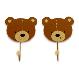Nojo - NoJo Bear 2-Pack Decorative Wall Hooks - Bear Wall Hooks come in a matching set of 2. Smiling bear hooks easily coordinate with many nursery or child room themes.