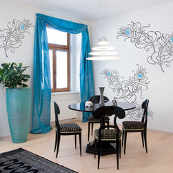 Peacock Feathers Wall Stencils Set - Peacock Feathers Wall Stencil Set from Royal Design Studio Stencils. These large graphic hand painted feather stencils bring an Asian vibe to living rooms, bedrooms, powder rooms and dining rooms.