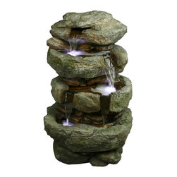 Yosemite Home Decor - Yosemite Home Decor 32 Inch Tiered Rock Indoor / Outdoor Fountain X-31011WC - The realistic look of this Yosemite Home Decor indoor/outdoor fountain has been created using a durable polyresin material. Nature-inspired finishing adds to the true-to-life look, with tiered rock detailing and generous 32 inch sizing. LED lighting highlights the flowing water, especially during the evening hours.