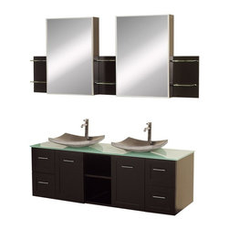 Wyndham Collection - 60 in. Bathroom Vanity Set - Includes two black granite sinks, green glass top, two matching medicine cabinets with mirrors. Faucets not included. Modern wall mounted installation. Two doors, four deep doweled drawers and two open storage compartments. Fully extending side-mount drawer slides. Soft-close doors and concealed door hinges. Easy-access storage spaces. Plenty of cabinet storage space. Variable wall-mount design allows the perfect height. Ground to top of counter variable 31 - 33 in. suggested. Eight stage painting and finishing process. Metal hardware with brushed chrome finish. Warranty: Two years limited. Made from beautiful natural wood veneers over highest quality grade E1 MDF. Espresso finish. Side shelves: 8.75 in. W x 5 in. D x 12 in. H. Medicine cabinet: 18 in. W x 5.75 in. D x 30 in. H (77 lbs.). Vanity: 60 in. W x 22.25 in. D x 24.5 in. H (137 lbs.). Handling Instructions. Installation InstructionsMake a statement with the Avara double vanity and add a twist of the transitional to an otherwise modern classic.