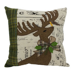 Xia Home Fashions - Reindeer With Applique Suede Collection Pillow With Polyester Filled, 14x14 - A majestic Christmas reindeer is embroidered on printed fabric with ribbon and green tartan accents. An enchanting linens collection! Handwash cold water, no bleach, lay flat to dry. Light iron as needed.