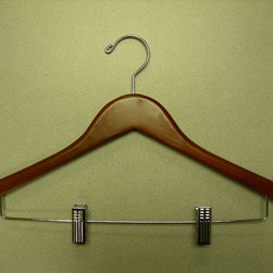 Proman Products - Genesis Flat Suit Hanger With Wire Clips - Genesis flat suit hanger with wire clips, light walnut, chrome hardware, 44.5Lx1.2Tcm, 100pcs/case