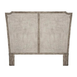 """Aidan Gray - Aidan Gray Ethan Headboard - Cane - The Ethan Headboard is from Aidan Gray, a line that represents a love for interiors, design and authentic products that exude """"European Grandeur."""" The founding partners' desire for products made by hand and with authentic materials such as solid wood, rustic metals, antique mirror, old painted finishes and silk appointments drives product development. Aidan Gray has become known for exceptional quality and detail oriented products.Available in queen (two panels) or king (three panels)Color/Finish: Vulcan White"""