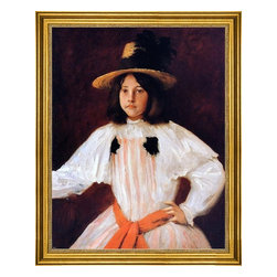 "William Merritt Chase-18""x24"" Framed Canvas - 18"" x 24"" William Merritt Chase The Red Sash (also known as Portrait of the Artist's Daughter) framed premium canvas print reproduced to meet museum quality standards. Our museum quality canvas prints are produced using high-precision print technology for a more accurate reproduction printed on high quality canvas with fade-resistant, archival inks. Our progressive business model allows us to offer works of art to you at the best wholesale pricing, significantly less than art gallery prices, affordable to all. This artwork is hand stretched onto wooden stretcher bars, then mounted into our 3"" wide gold finish frame with black panel by one of our expert framers. Our framed canvas print comes with hardware, ready to hang on your wall.  We present a comprehensive collection of exceptional canvas art reproductions by William Merritt Chase."