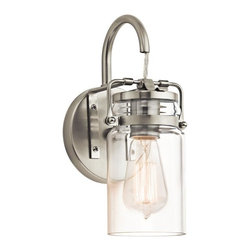Restoration Warehouse - Restoration Warehouse Brinley 1 Light Wall Sconce-Brushed Nickel - Finish: Brushed NickelGlass: ClearThe vintage style of this 1 light wall sconce from the Brinley collection gives a beautifully modern treatment to the familiarity and comfort of canning jars. Used in groups or stand-alone, the Brinley collection is a new touch of home in Brushed Nickel.