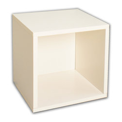 Way Basics - Super Cube, White - Sometimes, bigger is better — especially if you've got vinyl LPs, full-size photo albums and coffee table books to store. With easy peel-and-stick construction, you'll put together a formaldehyde- and VOC-free super cube in no time. And your stuff? Stowed!