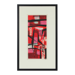 Lost Art Salon - Jerry Opper Framed Original Abstract in Red & Black, 1940-50s - This late 1940s-Early 1950s stone lithograph on paper stark red abstract is by California artist Jerry Opper (b.1924). After graduating from Hollywood High School, he worked in movie studios and attended art classes at Choiunard Art Institute. In 1942 he was drafted into the army and was then able to study at the Colorado Springs Fine Arts Center while his outfit was stationed in Colorado. After he was discharged in 1945 he returned to Chouinard and his work in movie studios until 1947, when he moved to San Francisco. Mr. Opper then enrolled at the California School of Fine Arts. Opper�۪s prints have been included in several major shows throughout the country: Oakland Art Gallery; Sacramento State Fair; San Francisco Museum of Art; International Color Lithography Exhibition at Cincinnati, Ohio; Pennell Print Show at the Library of Congress, Washington D.C.; Brooklyn Museum Print Show; Los Angeles County Fair, Pomona; City of Paris Rotunda Gallery, San Francisco. Estate stamped in the lower right and framed in a contemporary wood frame with matte black finish using archival matting and etched non-glare glass.