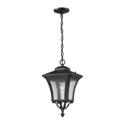 One Light Sand Black Clear Seedy Glass Hanging Lantern - Black cast aluminum curved hardware compliments the seedy clear glass on this unique yet traditional outdoor chain hung fixture.