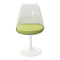 "LexMod - Lippa Dining Side Chair in Green - Lippa Dining Side Chair in Green - The Lippa Side Chair adds the perfect modern classic touch to any dinning space. Sturdy, easy to clean and lovely to behold, these chairs elevate a meal to whole new levels of enjoyment. Available in an array of colors, the Lippa Chair makes it easy to express your individual style. Set Includes: One - Lippa Side Chair ABS Plastic Seat, Aluminum Base, Cloth Cushions Overall Product Dimensions: 21""L x 20""W x 32.5""H Seat Height: 19""H - Mid Century Modern Furniture."