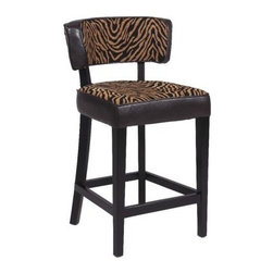 Chintaly Tiger Stationary 30 in. Bar Stool - Black - Take a walk on the wild side with the Chintaly Tiger Stationary 30 in. Bar Stool - Black. Your guests will take notice of this modern stool that features a two-tone animal print fabric with brown, bonded leather gussets. It's expertly crafted with solid birch wood and a contemporary, black finish. You'll be able to relax and enjoy the conversation, knowing you made a bold choice.About Chintaly ImportsBased in Farmingdale, New York, Chintaly Imports has been supplying the furniture industry with quality products since 1997. From its humble beginning with a small assortment of casual dining tables and chairs, Chintaly Imports has grown to become a full-range supplier of curios, computer desks, accent pieces, occasional table, barstools, pub sets, upholstery groups and bedroom sets. This assortment of products includes many high-styled contemporary and traditionally-styled items. Chintaly Imports takes pride in the fact that many of its products offer the innovative look, style, and quality which are offered with other suppliers at much higher prices. Currently, Chintaly Imports products appeal to a broad customer base which encompasses many single store operations along with numerous top 100 dealers. Chintaly Imports showrooms are located in High Point, North Carolina and Las Vegas, Nevada.