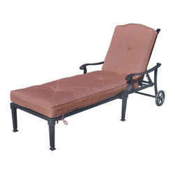 Darlee - Darlee Charleston Chaise Lounge Chair Multicolor - DL1091-33/303 - Shop for Chaise Lounges from Hayneedle.com! Smart and chic the Darlee Charleston Chaise Lounge Chair offers a multi-position recline feature wheels and handsome features. Perfect poolside or on the patio this chaise lounge features a casual yet elegant open lattice design. It's made of premium cast aluminum with a hand-applied powder-coated antique bronze finish. The hinged spicy chili fabric cushion adds comfort and includes ties to keep it in place.About DarleeSince 1993 Darlee has developed a wide variety of products to help you create your ideal outdoor-living environment. Working with high-quality materials Darlee achieves a large spectrum of styles that covers a range of interests as well as aesthetic tastes. From classic to contemporary from conversation sets to dining sets to fire pits Darlee has you covered for outdoor entertaining. Because the company knows good business is built on trust and integrity Darlee focuses on reliable quality construction and remains committed to providing customers with the best service possible.