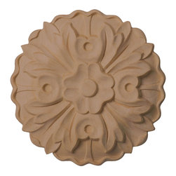 """Ekena Millwork - 5""""W x 5""""H x 3/4""""P Kent Rosette, Maple - Our rosettes are the perfect accent pieces to cabinetry, furniture, fireplace mantels, ceilings, and more.  Each pattern is carefully crafted after traditional and historical designs.  Each piece is carefully carved and then sanded ready for your paint or stain.  They can install simply with traditional wood glues and finishing nails."""
