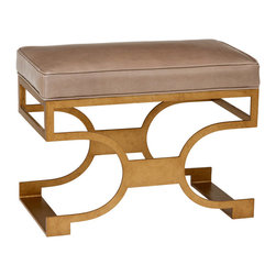 """Redford House - Redford House Domingo Bench - The Redford House Domingo bench offers a sleek and glamorous interior accent. Its distinct metallic frame gives rise to a plush seat in svelte style. 28""""W x 15.5""""D x 21""""H; Iron base; Hand-finished; Available in several finish and fabric options; Optional distressing mimics everyday wear; Color and texture may vary from piece to piece; Email shop@zincdoor.com for COM fabric details"""