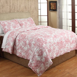 Cottage Home - French Toile Red Cotton 3-piece Quilt Set - The beautiful quilt set can be added to any bedroom for maximum comfort and style. Constructed of 100-percent cotton,this quilt features a French toile pattern in a red finish. Two shams are included to complete the look.