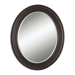 Oil Rubbed Bronze Oval Mirror with Gold Highlights - Oil Rubbed Bronze Oval Mirror with Gold Highlights