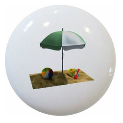 Carolina Hardware and Decor, LLC - Beach Umbrella Ceramic Knob - New 1 1/2 inch ceramic cabinet, drawer, or furniture knob with mounting hardware included. Also works great in a bathroom or on bi-fold closet doors (may require longer screws). Item can be wiped clean with a soft damp cloth. Great addition and nice finishing touch to any room!