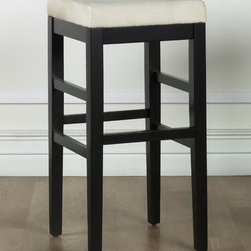 Armen Living - Sonata 26in. Stationary Barstool in Beige Microfiber - Light cream beige microfiber backless 26 inches stationary barstool with an ebony finished wood frame. 1.8 density foam.
