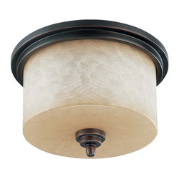 Patina Bronze And Saddle Stone Glass Energy Star Flush Ceiling Light - Condition: New - in box