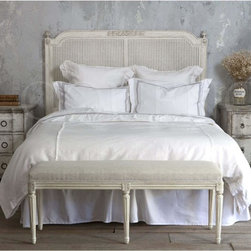 Eloquence - Eloquence Blanka Cane Headboard - Vintage reproduction headboard in a lovely Antique White varnish featuring carved accents. Pretty double cane gives a one of a kind shabby chic elegance to any room. Also available in King Size.