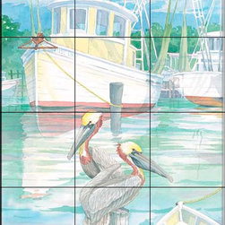 The Tile Mural Store (USA) - Tile Mural - At Dock Miss Lucy - Kitchen Backsplash Ideas - This beautiful artwork by Paul Brent has been digitally reproduced for tiles and depicts two pelicans sitting in front of the Miss Lucy.  Tile murals with ships and decorative ship tiles are timeless and are excellent to add to your kitchen backsplash tile project or your tub and shower surround bathroom tile project. Images of ships on tiles and pictures of sailboats on tiles add a unique element to your tiling project and are a great kitchen backsplash idea for a coastal home. Use a decorative tile mural of ships and boats for a wall tile project in any room in your home where you want to add interest to a plain field of wall tile. Bathrooms always look best with the addition of decorative wall tiles so why not add a tile mural with the image of a ship?