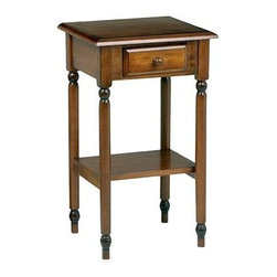 Office Star - Telephone Table w Drawer & Shelf in Antique C - A classic antique cherry finish and turned legs bring an element of warmth and charm to this one-drawer telephone table, a welcoming addition to any decor. Highlighted by a cottage style design, the table features a lower display shelf and will be perfect in a hall, entry or anywhere you need extra surface space and storage. Made of select veneers and solids. Antique cherry finish. Timeless design compliments most any decor. Handy storage drawer for accessories. Lower shelf for additional storage. Distinctive multi-step finish process. Easy to assemble. 17 in. W. x 15.5 in. L x 29 in. H