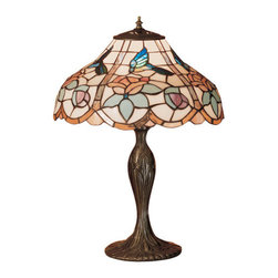 """Meyda Tiffany - 23""""H Hummingbird Table Lamp - A nectar seeking Teal colored Hummingbird, drinks from Blush Pink roses on this beautiful curved shaped stained glass shade, with scalloped panels edged in Peach tinted glass. Inspired by nature, Meyda Tiffany presents this charming table lamp with base in a hand applied, Mahogany Bronze finish."""