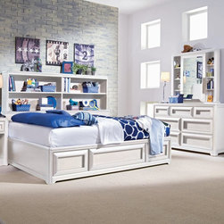 Lea Industries - Elite Reflections Bookcase Storage Platform Bed Multicolor - LEAI658 - Shop for Beds from Hayneedle.com! The Elite Reflections Bookcase Storage Platform Bed Collection will add contemporary style and ample storage to your child's bedroom. Constructed of select wood products this unit has a rich aspen white painted finish with matched veneers on the case tops and bed.Built for durability and years of use this platform bed combines practical function with clean contemporary style. One side of the bed features a long bookcase with two adjustable shelves. The other side features three spacious under-bed trundle drawers for storing clothes toys linens and more. Heavy drawer frames on the trundle drawers add weight and serve as drawer handles. The finish is lead-free child-safe and meets all U.S. safety requirements. Available in your choice of sizes. No box spring is required. Bed Dimensions:Twin: 79L x 41W x 54H inchesFull: 79L x 56W x 54H inches. If your child needs even more storage then add optional bedroom furniture pieces for a complete set. Choose to add the dresser alone or the dresser with cabinet mirror. The optional dresser features three small upper drawers and four spacious lower drawers which provide plenty of storage for clothing and accessories. Automatic drawer stops prevent drawers from falling out of the unit. Hardwood frames with protective panels between each drawer keep clothes dust-free and the back panel is recessed and attached with screws for strength and durability. Heavy drawer frames add weight and serve as drawer handles for a clean look.The mirror cabinet sits atop the dresser and offers shelves of varying sizes and heights to accommodate personal products or to serve as a display space. The mirror slides along the cabinet allowing you to conceal personal products while displaying other items. Constructed of select wood products both the dresser and mirror cabinet have a lead-free child-safe aspen white painted finish that meets all U.S. safety requirements. Assembly required. Bedroom Furniture Dimensions:Dresser: 58W x 18D x 35H inchesMirror cabinet: 40W x 5D x 39H inchesWhat makes this collection elite: The Lea Industries Elite Collections are crafted from high-quality materials usually associated with more expensive heirloom-quality furniture. Pattern veneers inlays and matched veneer drawer fronts are a few characters that set these collections apart from the rest. The multistep finishing process begins with hand-selected veneers and involves as many as seven different spray applications and as many as eight additional hand applications. Together these layers create a high-luster finish that accentuates the wood veneers. All finishes are lead-free child-safe and meet U.S. safety requirements.Dependable bed construction: All Elite Collections beds feature metal connectors that prevent unintentional rail detachment and provide strength and lasting durability. Slat roll mattress support systems come standard with bunk beds loft beds and platform beds to provide reliable mattress support without the need for a box spring or bunkie board. Each slat fastens with a screw which increases the structural integrity of the bed. Most twin- and full-size Elite Collections beds have underbed storage options including deep drawers or dual-function trundle/storage units that take advantage of unused space under the bed. All bunk beds and loft beds comply with all ASTM consumer safety standards. Bunk bed ladders and guardrails attach with metal screws and metal-to-metal fasteners for superior strength and security.Solid case construction: Each case in Lea's Elite Collections is constructed with a hardwood frame for extra durability. Protective panels between each drawer help keep clothes dust-free. Back panels are recessed and attached by screws which provides more strength and structural integrity than stapled-on back panels. Anti-tip restraint kits secure the case to the wall to prevent tipping. They are included with all cases 30 inches tall or taller.Superior drawer construction: Elite Collections case pieces have drawers of exceptional strength and durability. All of the drawers feature traditional English dovetail construction on drawer fronts and drawer backs providing more strength and durability than commonly used French dovetail or box joints. Drawer parts are hand-sanded and finished with a stained protective topcoat to create a smooth snag-free interior. Drawer bottoms are reinforced by corner blocks and center rails for greater stability.The drawers operate smoothly on full-extension drawer guides with steel ball bearings that provide easy one-handed operation and greater drawer stability than standard center-mounted drawer guides. Because the drawers extend completely out of the case you have easier access to the contents of the drawer - even way in the back. Automatic drawer stops prevent drawers from falling out of the case. Select drawers include special features such as aromatic cedar bottoms or removable drawer dividers to help organize drawer contents.About Lea IndustriesLea Industries is a leading manufacturer of youth furniture. The Hideout Collection is a perfect example of the craftsmanship and style Lea is dedicated to preserving. Featuring clean lines and subtle design elements the Hideout Collection is a fashionable option for girls and boys alike. Each piece is crafted from fine hardwoods veneers wood products and simulated wood to ensure both durable and quality furniture that holds up to the wear and tear of youth use.Lea's youth furniture offers a wide assortment of styles for both girls and boys with a broad selection of specialized functional designs for today's active kids including four-poster canopy beds bunk beds storage beds dual sleep beds student desks and learning centers for youth computing. Lea's wide variety of styles ranges from 18th century and country to casual contemporary. Lea traces its origins back to 1869. Their headquarters are located in Greensboro N.C.