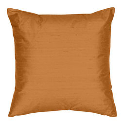 The Silk Group - Hazelton 18x18-Inch Silk Dupioni Square Poly Insert Decorative Pillow - - Handcrafted in the USA these decorative pillows are ideal for adding that special finishing touch to any space. Available in over 100 colors several of them can be combined for a grouping of complementary colors or contrasting shades. They feature 100% Grade A Silk Dupioni the finest highest quality most exquisite silk fabric on the market. A high quality knit backing is permanently bonded to the back of the fabrics used in our pillows. The knit backing adds body increased stability and longevity to the pillow. An invisible color-coordinated zipper is discretely placed on the bottom edge of the pillow so both faces of the pillow are able to be displayed. The pillow inserts we use are over-sized so our pillows will always have that desirable high soft and fluffy appearance. Our pillows are available without the insert too if you prefer to use your own. The fabric face has been treated with the most durable and permanent stain moisture and UV repellants available. This provides long lasting protection from water alcohol and oil-based stains as well as resistance from fading and discoloring over time.  - Fill Material: Down  - Dry Clean Only The Silk Group - SQ_Dup_Sol_Hazelton_18x18_Poly