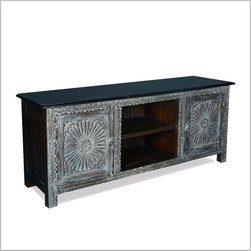 Traditional Hand Carved Reclaimed Wood TV Media Console Cabinet - Contrasting colors and surfaces define our Snowy Night Sunburst Entertainment Center. The smooth black surfaces of the top and sides add an exciting counterpoint to the intricately hand carved and frosted white front of the television island.